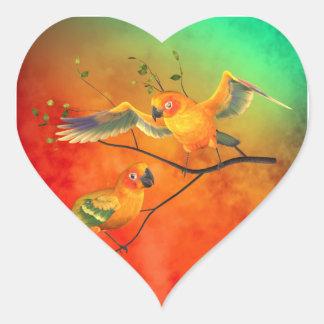 Parrots Sun Conures Heart Sticker