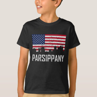 Parsippany New Jersey Skyline American Flag Distre T-Shirt