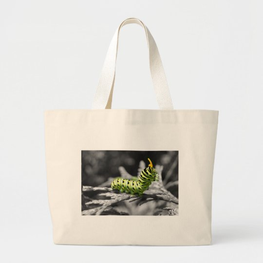 parsley caterpillar black and white large tote bag