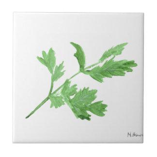 Parsley herb watercolour tile