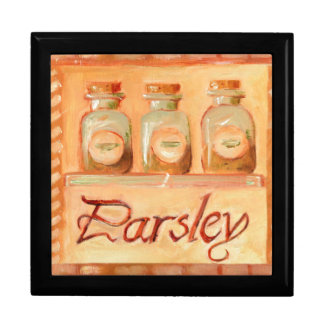 Parsley kitchen spice jars jewelry box