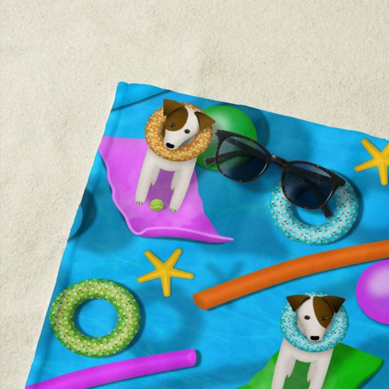Parson Jack Russell Terrier dog pool party pattern Beach Towel