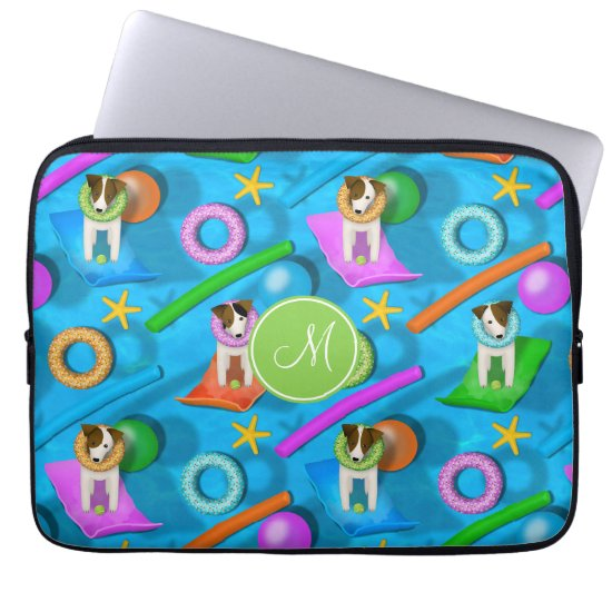 Parson Jack Russell Terrier dog pool party pattern Computer Sleeve
