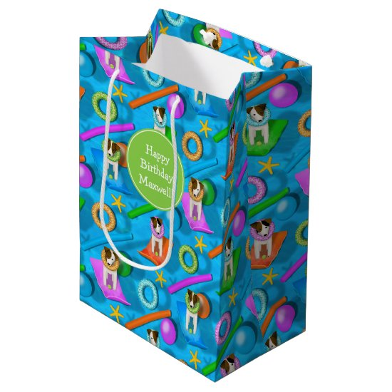 Parson Jack Russell Terrier dog pool party pattern Medium Gift Bag