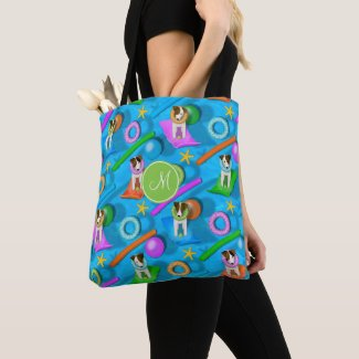 Parson Jack Russell Terrier dog pool party pattern Tote Bag