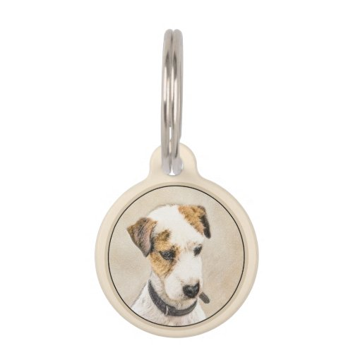 Parson Jack Russell Terrier Painting _ Dog Art Pet ID Tag