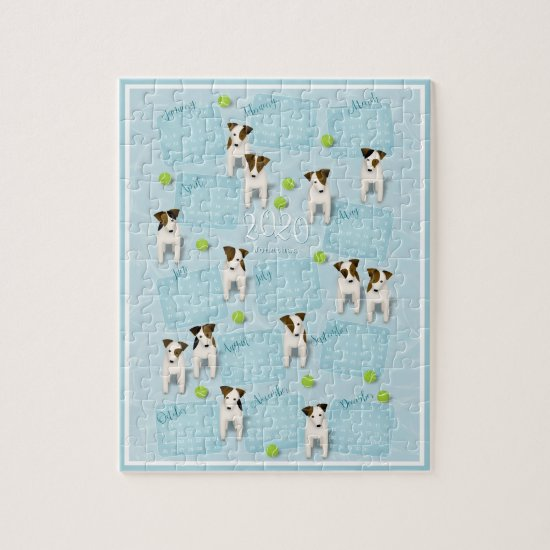 Parson Jack Russell Terriers blue 2020 calendar Jigsaw Puzzle