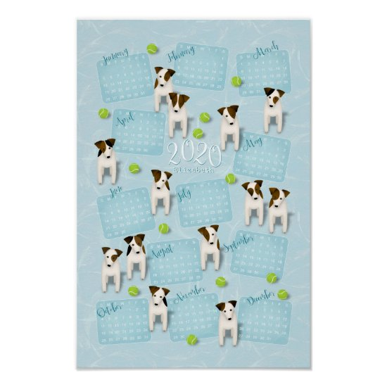 Parson Jack Russell Terriers blue 2020 calendar Poster