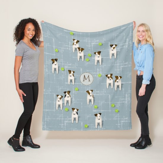 Parson / Jack Russell Terriers dogs w tennis balls Fleece Blanket