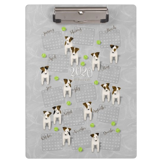 Parson Jack Russell Terriers gray 2020 calendar Clipboard
