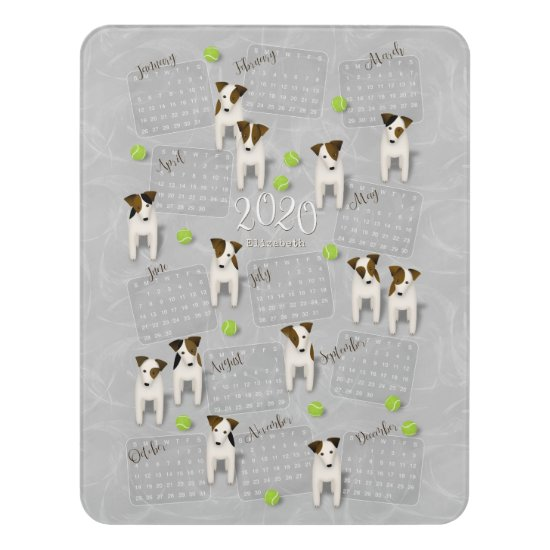 Parson Jack Russell Terriers gray 2020 calendar Door Sign