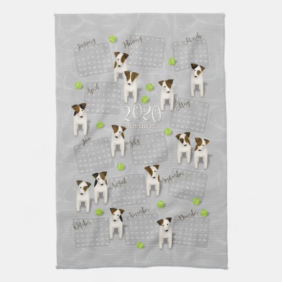 Parson Jack Russell Terriers gray 2020 calendar Hand Towel