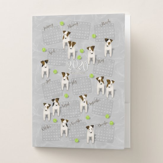 Parson Jack Russell Terriers gray 2020 calendar Pocket Folder