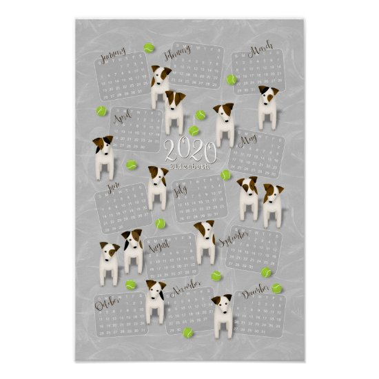 Parson Jack Russell Terriers gray 2020 calendar Poster