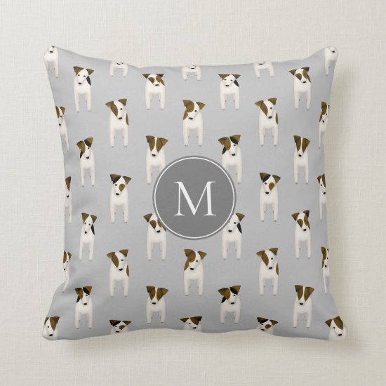 Parson Jack Russell Terriers pattern gray Throw Pillow