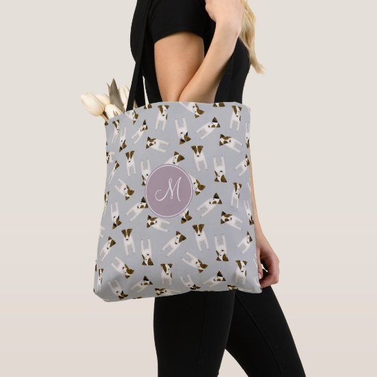 Parson Jack Russell Terriers pattern light gray Tote Bag