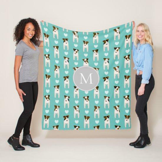 Parson Jack Russell Terriers pattern light teal Fleece Blanket