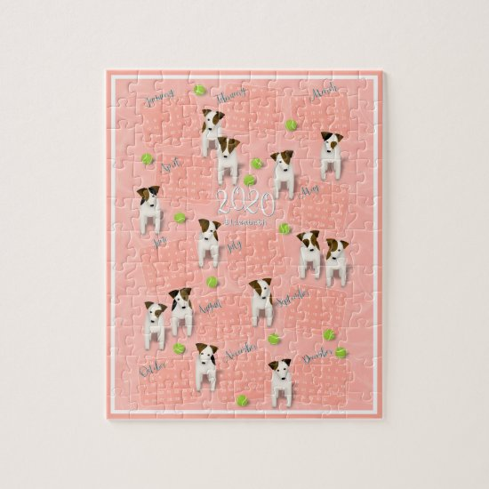 Parson Jack Russell Terriers peach 2020 calendar Jigsaw Puzzle