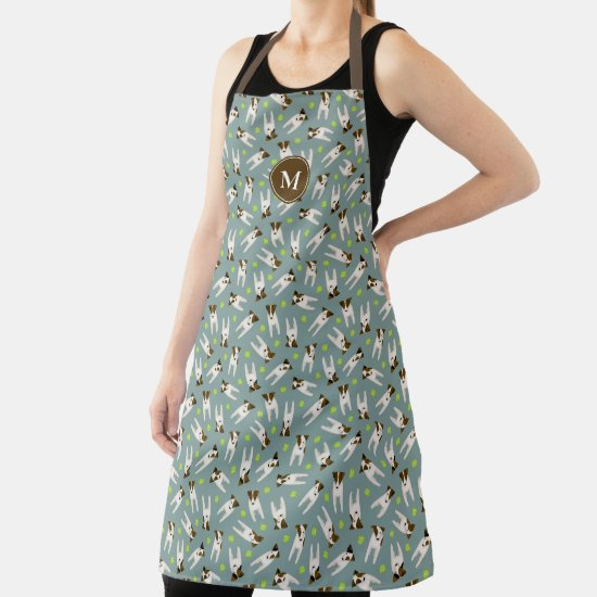 Parson Jack Russell Terriers tennis balls pattern Apron
