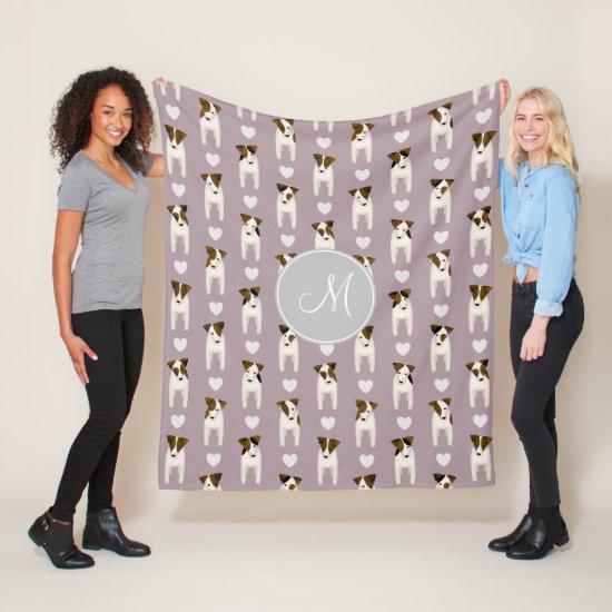 Parson Jack Russells pattern monogrammed lilac Fleece Blanket