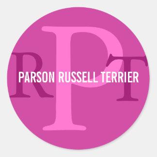Parson Russell Terrier Breed Monogram Classic Round Sticker