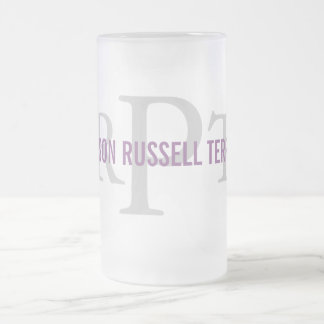 Parson Russell Terrier Breed Monogram Frosted Glass Beer Mug
