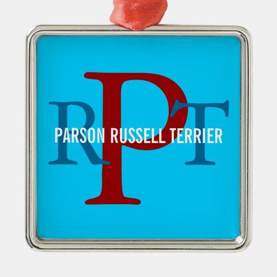 Parson Russell Terrier Breed Monogram Metal Ornament