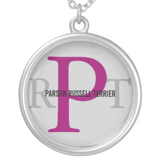 Parson Russell Terrier Breed Monogram Round Pendant Necklace