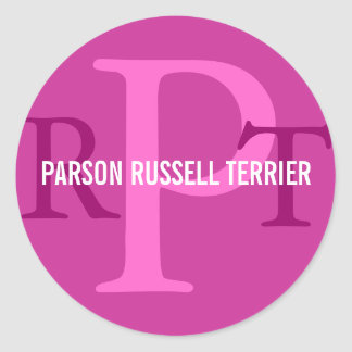 Parson Russell Terrier Breed Monogram Round Stickers