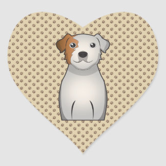 Parson Russell Terrier Cartoon Heart Sticker