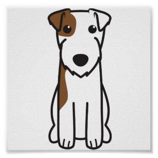 Parson Russell Terrier Dog Cartoon Poster