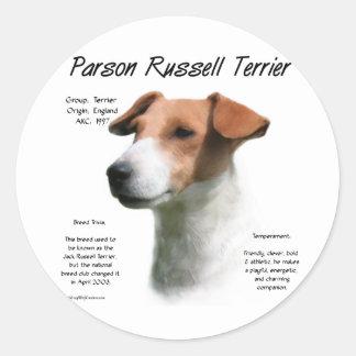 Parson Russell Terrier History Design Round Sticker