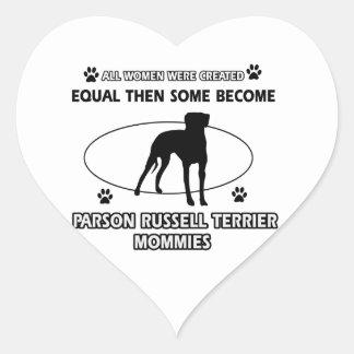 Parson Russell Terrier Mommy Designs Heart Sticker