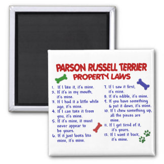 PARSON RUSSELL TERRIER Property Laws 2 2 Inch Square Magnet