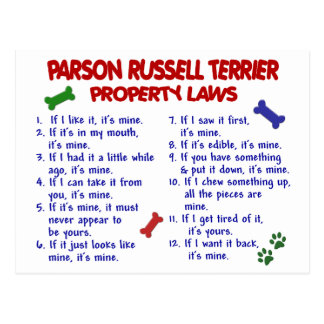 PARSON RUSSELL TERRIER Property Laws 2 Postcard