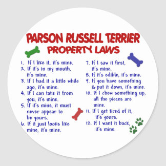 PARSON RUSSELL TERRIER Property Laws 2 Sticker