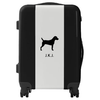 Parson Russell Terrier Silhouette with Custom Text Luggage