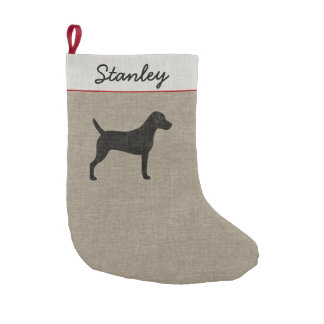 Parson Russell Terrier Silhouette with Custom Text Small Christmas Stocking