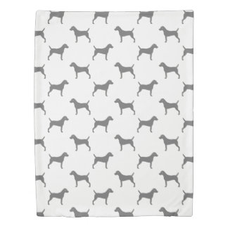 Parson Russell Terrier Silhouettes Pattern Duvet Cover