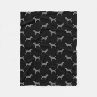 Parson Russell Terrier Silhouettes Pattern Fleece Blanket