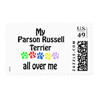 Parson Russell Terrier Walks Design Postage Stamps