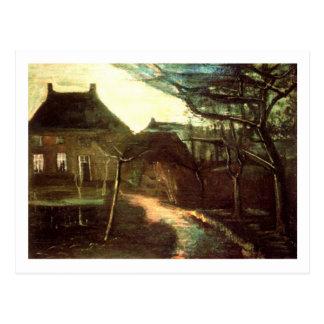 Parsonage en Nuenen por claro de luna, Vincent van Tarjeta Postal