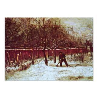 Parsonage Garden at Nuenen in the Snow by van Gogh 5x7 Paper Invitation Card