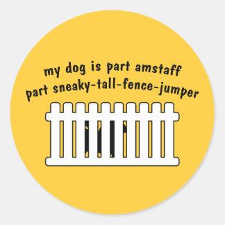Part AmStaff Part Fence-Jumper Classic Round Sticker
