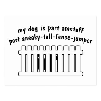 Part AmStaff Part Fence-Jumper Postcard