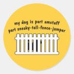 Part AmStaff Part Fence-Jumper Round Stickers