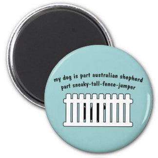 Part Australian Shepherd Part Fence-Jumper 2 Inch Round Magnet