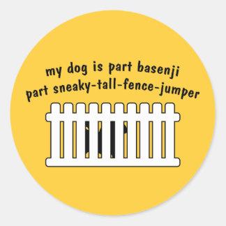 Part Basenji Part Fence-Jumper Classic Round Sticker