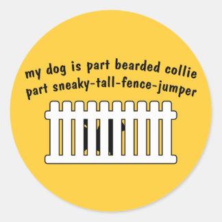 Part Bearded Collie Part Fence-Jumper Sticker