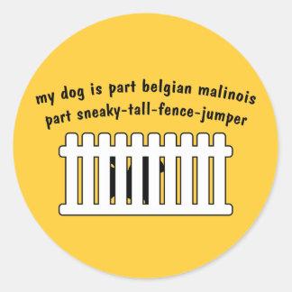Part Belgian Malinois Part Fence-Jumper Classic Round Sticker
